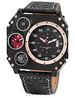 Homens Relógio Esportivo Relógio Militar Único Criativo relógio Chinês Quartzo Calendário Dois Fusos Horários Couro Banda LegalPreta