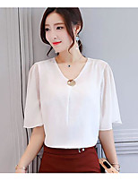 Women's Casual/Daily Simple Blouse,Solid V Neck Half Sleeves Others