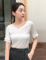 Women's Casual/Daily Simple T-shirt,Solid V Neck Short Sleeves Nylon Others