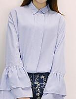 Camicia Da donna Casual Semplice Romantico Primavera,A strisce Colletto Cotone Manica lunga Medio spessore