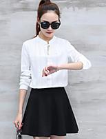 T-shirt Da donna Casual Semplice A strisce Girocollo Cotone Manica lunga