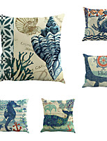 Set Of 5 Mediterranean Design Whale Sea Horse Pillow Cover Classic Animal Square Pillow Case Home Decor