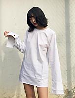 Damen Solide Einfach Lässig/Alltäglich Hemd,Rundhalsausschnitt Langarm Baumwolle Andere