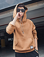 Men's Going out Casual/Daily Hoodie Solid Hooded Micro-elastic Polyester Nylon Others Long Sleeve Spring Fall
