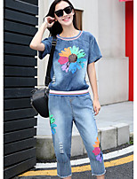 Women's Casual/Daily Simple Summer T-shirt Pant Suits,Floral Round Neck Short Sleeve