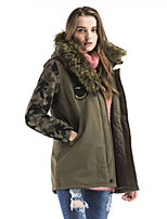 Maxlindy Women's Vintage Street chic Sophisticated Going out Casual Camouflage Print Fur Collar Polypropylene Padded Coat