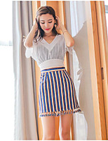 Women's Casual/Daily Simple Summer T-shirt Skirt Suits,Striped V Neck Short Sleeve