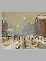 IARTS® Hand Painted Modern Abstract City People Rush in Snow Day Oil Painting On Canvas Stretched Frame Wall Art For Home Decoration Ready To Hang