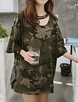 Women's Going out Casual/Daily Simple Summer T-shirt,Camouflage Round Neck Short Sleeves Cotton