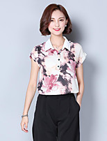 Women's Casual/Daily Simple Blouse,Print Shirt Collar Short Sleeves Polyester