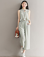 Women's Casual/Daily Simple Summer Blouse Pant Suits,Solid Sweetheart Sleeveless Micro-elastic