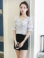 Women's Casual/Daily Simple Blouse,Print Round Neck Short Sleeves Cotton
