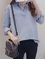 Women's Casual/Daily Simple Shirt,Solid V Neck Long Sleeves Others