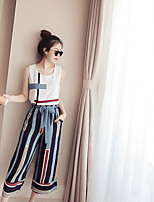 Women's Casual/Daily Simple Summer Blouse Pant Suits,Striped Round Neck Sleeveless Inelastic