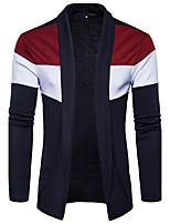 Men's Going out Casual/Daily Simple Regular Cardigan,Color Block Shirt Collar Long Sleeves Cotton Spring Fall Medium Stretchy