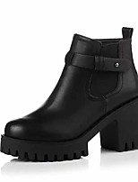 Women's Boots Comfort Fashion Boots Fall Winter PU Dress Office & Career Zipper Chunky Heel Black Gray 1in-1 3/4in