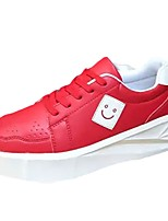 Da uomo Sneaker Comoda Primavera Autunno PU (Poliuretano) Casual Lacci Piatto Bianco Nero Rosso Piatto
