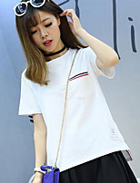 Women's Casual/Daily Simple T-shirt,Solid Striped Round Neck Short Sleeves Cotton