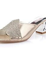 Women's Slippers & Flip-Flops Light Soles Spring Fall PU Casual Rhinestone Block Heel Silver Gold 2in-2 3/4in