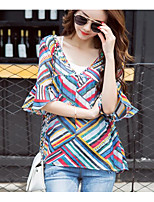 Women's Casual/Daily Sexy Blouse,Solid Print Deep V Short Sleeves Cotton Linen