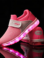 Girls' Athletic Shoes Light Up Shoes Spring Fall Tulle Athletic Casual Outdoor Magic Tape Flat Heel Green Blushing Pink Black/Red Flat