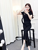 Women's Casual/Daily Simple Active Summer T-shirt Pant Suits,Solid Round Neck Short Sleeve Split strenchy