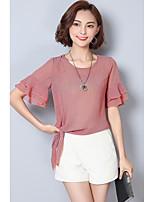 Для женщин На выход Блуза Круглый вырез,Уличный стиль Полоски С короткими рукавами,Другое