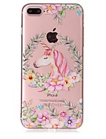 Per iPhone X iPhone 8 Custodie cover Transparente Decorazioni in rilievo Fantasia/disegno Custodia posteriore Custodia Unicorno Fiore