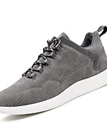 Men's Sneakers Walking Comfort Pigskin Summer Fall Casual Split Joint Flat Heel Brown Gray Black Flat