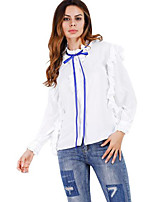 Women's Casual/Daily Simple Shirt,Solid Round Neck Long Sleeves Cotton