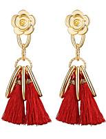 Fashion Rose Flower Dangle Earrings New Multicolor Cotton Tassel Long Chandelier Earring for Women Statement Jewelry