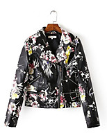 Women's Casual/Daily Simple Fall Leather Jacket,Solid Print Shirt Collar Long Sleeve Short PU