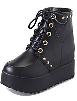 Women's Boots Comfort Spring Fall PU Casual Lace-up Flat Heel Brown Black Flat