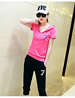 Women's Sports Going out Casual/Daily Spring Summer Hoodie Pant Suits,Solid Striped Textured Hooded Short Sleeve
