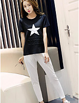 Women's Casual/Daily Simple Summer T-shirt Pant Suits,Geometric Pattern Round Neck Short Sleeve