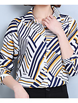 Women's Casual/Daily Simple Blouse,Print Shirt Collar Long Sleeves Others