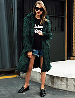 Women's Going out Casual/Daily Work Simple Active Fall Winter Fur Coat Solid V Neck Long Sleeve Long Faux Fur White/Black/Pink/Green M-2XL