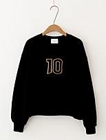 T-shirt Da donna Per uscire Casual Semplice Romantico Moda città Estate Autunno,Tinta unita Rotonda Cotone Manica lungaSottile Medio