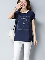 Women's Going out Casual/Daily Simple Summer T-shirt,Solid Floral Round Neck Short Sleeves Cotton Thin