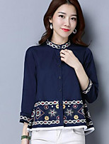 Women's Casual/Daily Simple Shirt,Solid Print Round Neck Long Sleeves Linen