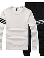 Men's Sports Casual/Daily Simple Set Solid Round Neck Micro-elastic Polyester Long Sleeve Fall Winter