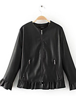 Women's Casual/Daily Simple Fall Leather Jacket,Solid Round Neck Long Sleeve Short PU