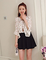 Women's Casual/Daily Cute Blouse,Print V Neck 3/4 Length Sleeves Silk