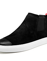 Men's Sneakers Fashion Boots Fall Winter Leather Pigskin Casual Party & Evening Office & Career Split Joint Flat Heel Black Black/White