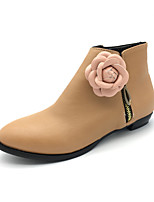 Women's Boots Fashion Boots Bootie Fall Winter Leatherette Party & Evening Dress Flower Low Heel Almond Black Under 1in