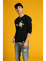 HEARTSOUL Men's Sports Holiday Going out Casual/Daily Simple Punk & Gothic Sweatshirt Print Oversized Round Neck Micro-elasticCotton Polyester