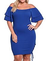 Women Plus Size Slash Neck Bodycon Dress Off Shoulder Ruffle Sleeve Side Lace Up Bandage Party Dress