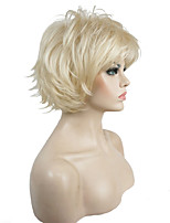 Short Blonde Choppy Layers Back Flip Full Synthetic Wigs Full Wig