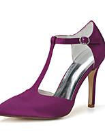 Femme Chaussures de mariage Chaussures formelles Printemps Eté Satin Mariage Soirée & Evénement Talon Aiguille Blanc Violet 7,5 à 9,5 cm