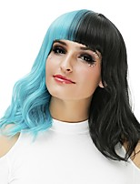 Mulher Perucas sintéticas Sem Touca Médio Ondulado Black / azul Peruca Natural Peruca de Halloween Peruca de Festa Peruca de carnaval